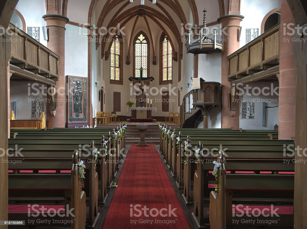 Interior view of Stadtkirche Biedenkopf, Germany stock photo