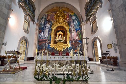 interior view of the basilica de la Candelaria and shrine of Black Madonna, patron saint of Canary Islands, Spain