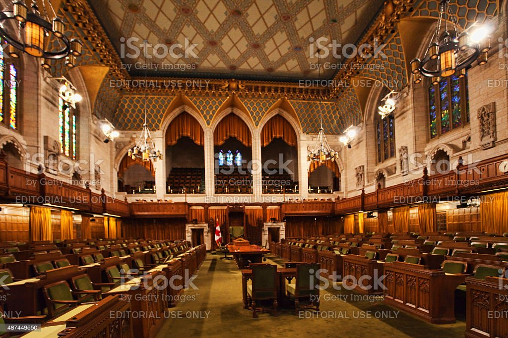 Interior view of the Canada Commons of Parliament, Ottawa stock photo