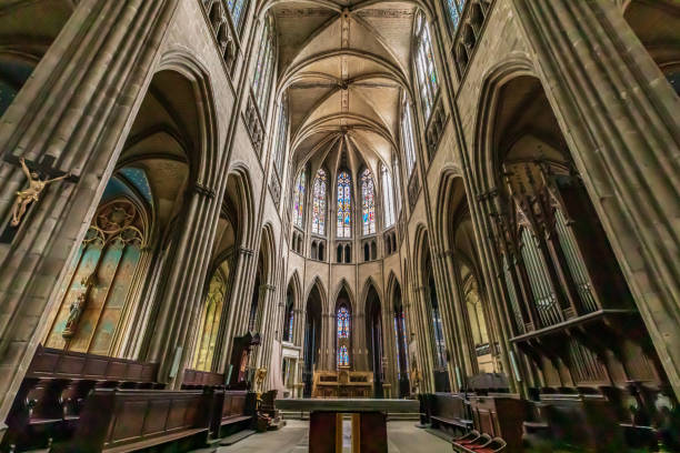 Interior view of the Cathedral at Limoges. stock photo