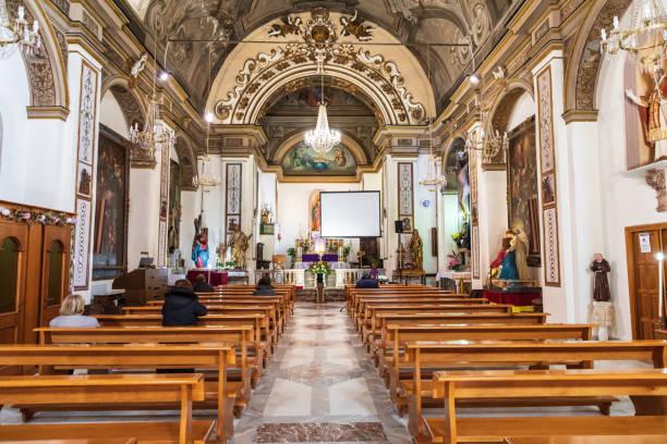 Interior view of the Chiesa S. Nicolò di Bari, a small church in the medieval town of Caronia. stock photo