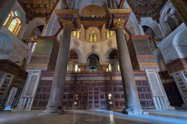 Interior view of   the mausoleum of Sultan Qalawun, part of Sultan Qalawun Complex located in Al Moez Street, Cairo, Egypt stock photo