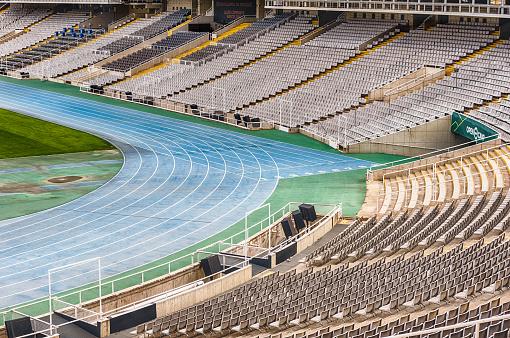 Interior view of the Olympic Stadium, Montjuic, Barcelona, Catalonia, Spain