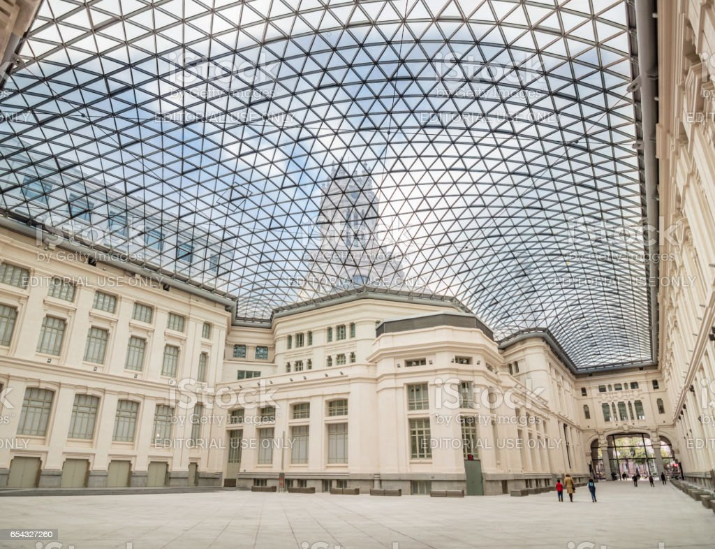 Interior view of the skylight of Madrid City Hall stock photo