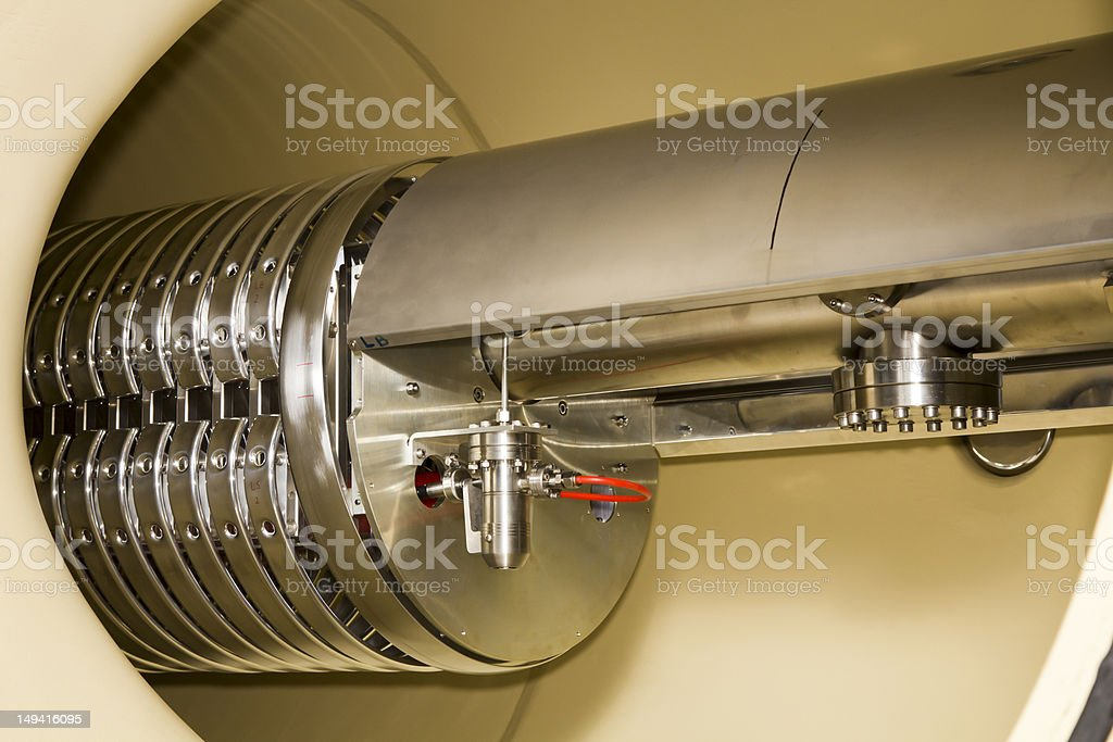 Interior view of vital part in ION accelerator stock photo