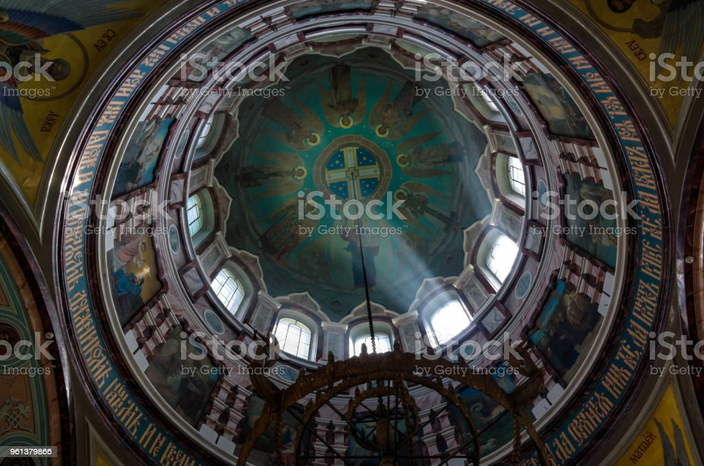 Interior view to the Beheading of St. John the Baptist cathedral in the kremlin of Zaraysk, Moscow region, Russia stock photo
