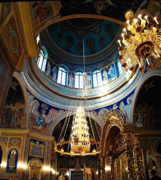 interior view to the metropolitan cathedral nativity of the lord, chisinau, moldova - moldova stock pictures, royalty-free photos & images