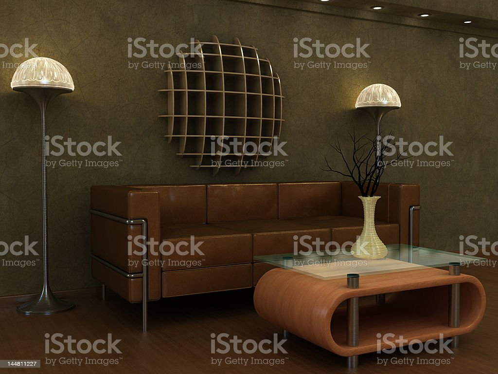 Interior Visualization of a classic Art Deco revival style lounge. stock photo