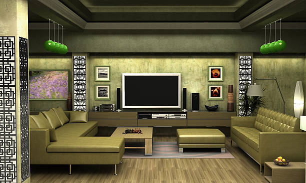 Interior visualization of a living room. Interior visualization of a living room. The images on the wall are derived from my personal photography and therefore pose no copyright infringement. man cave stock pictures, royalty-free photos & images