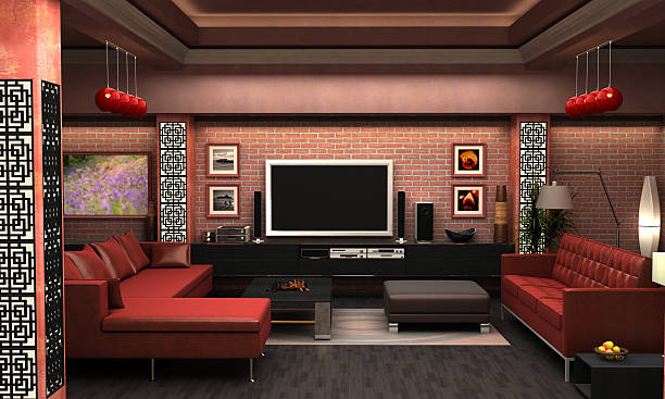 Interior Visualization of a living room. Interior Visualization of a living room. All pictures on the wall are derived from my own artwork and pose no copyright infringement. man cave couch stock pictures, royalty-free photos & images