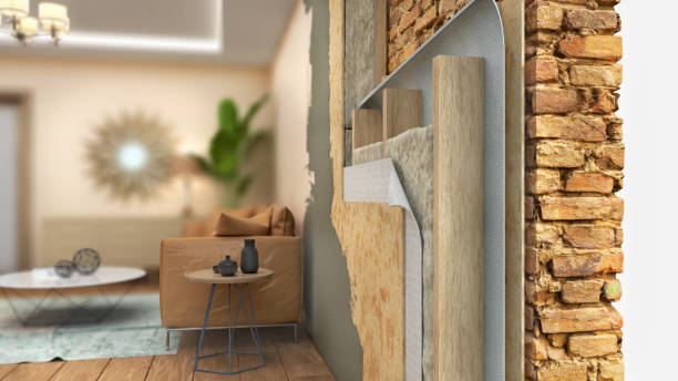 Interior wall thermal insulating, 3d illustration stock photo