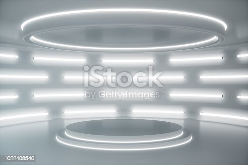 Interior white futuristic background, sci-fi interior concept. Empty interior with neon lights. 3D illustration
