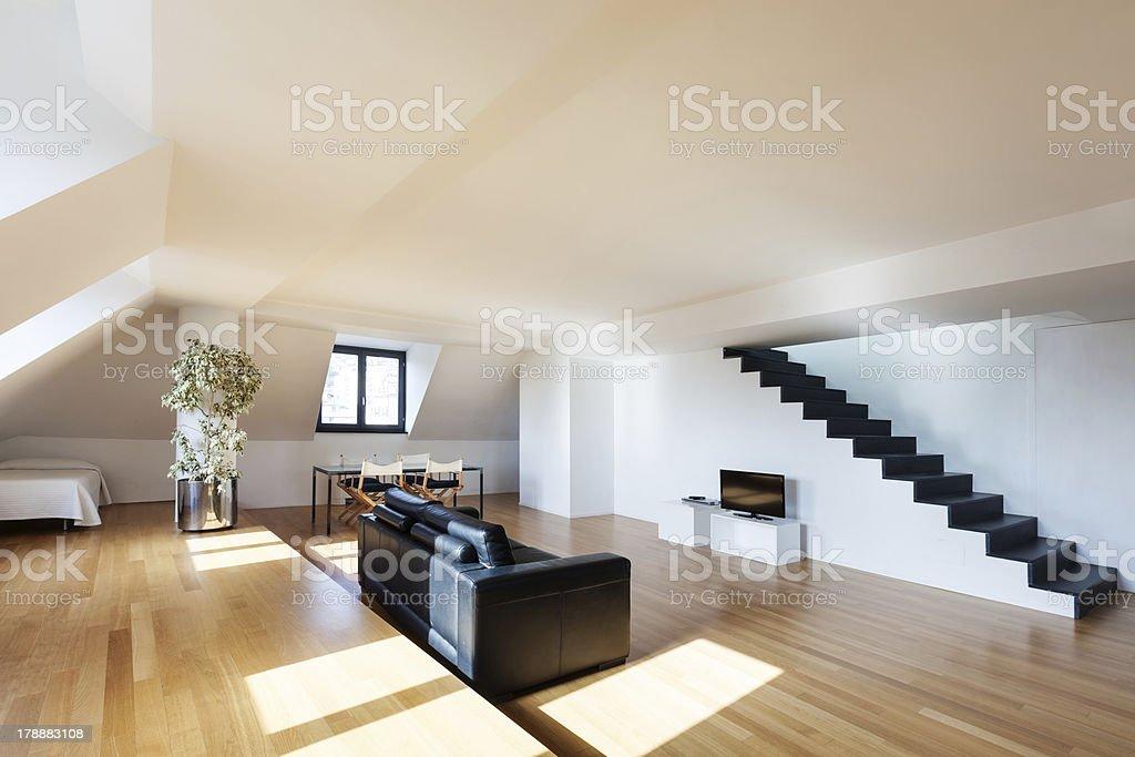 Interior, wide loft royalty-free stock photo
