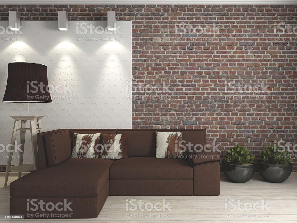 interior with a brick wall royalty-free stock photo