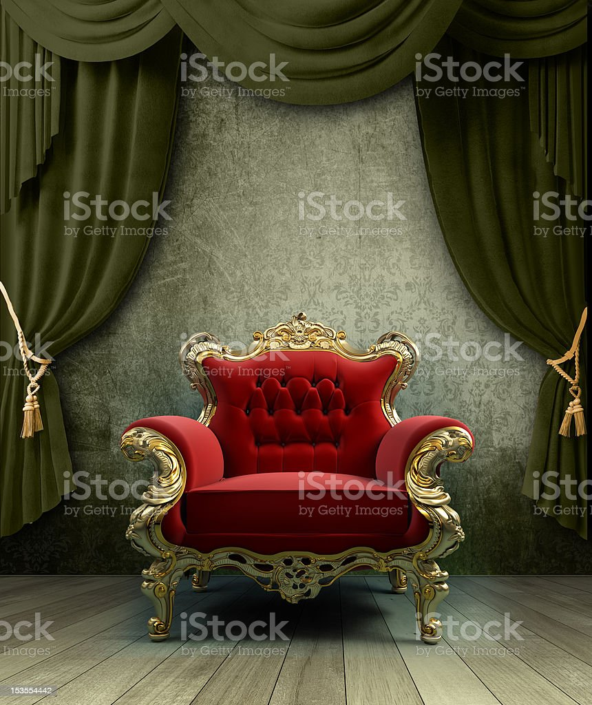 interior with a classic baroque chair stock photo