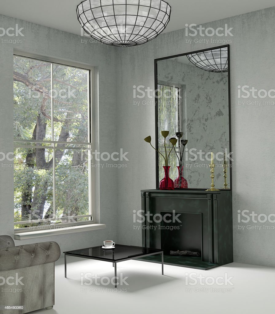 Interior with a fireplace stock photo