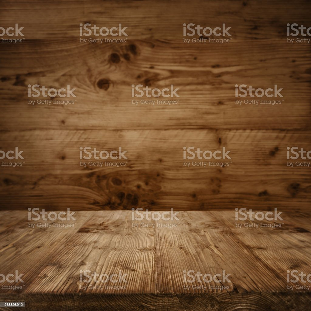 Interior with a wooden floor in vintage style stock photo