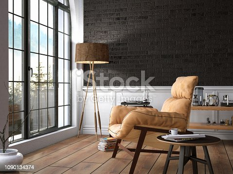 Cozy interior with armchair