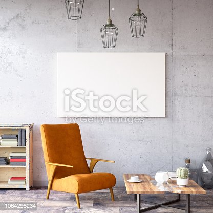 istock Interior with Armchair and Books 1064298234