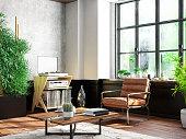 Bright cozy interior with armchair