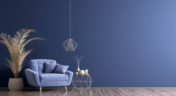 interieur met fauteuil en salontafel 3d rendering - interior design stockfoto's en -beelden