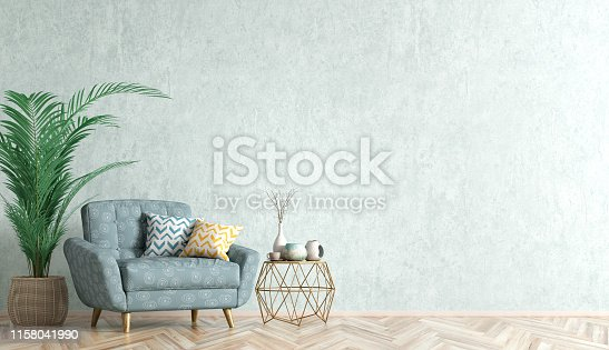 Interior of living room with coffee table, blue armchair and palm, home design 3d rendering