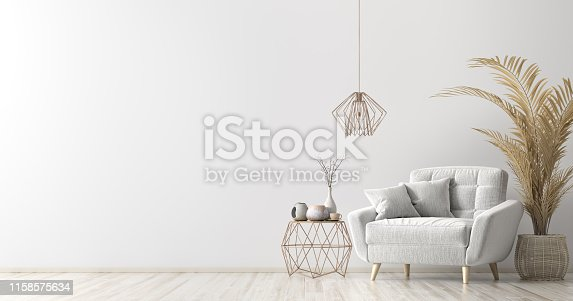 istock Interior with armchair and coffee table 3d rendering 1158575634