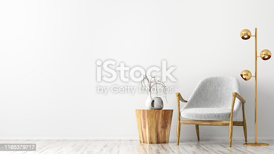 Interior of living room with wooden coffee table, golden floor lamp and gray armchair against white wall with copy space 3d rendering