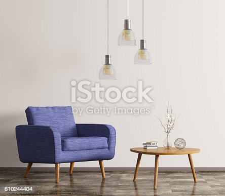 istock Interior with armchair and coffee table 3d rendering 610244404