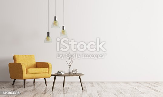 istock Interior with armchair and coffee table 3d rendering 610563326