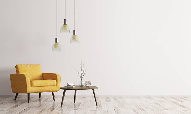 Interior with armchair and coffee table 3d rendering Interior of living room with wooden triangular coffee table, lamps and  yellow armchair 3d rendering armchair stock pictures, royalty-free photos & images