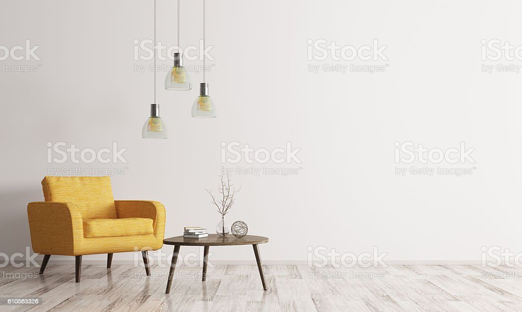 Interior with armchair and coffee table 3d rendering - foto de stock