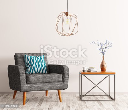 istock Interior with armchair and coffee table 3d rendering 612402506