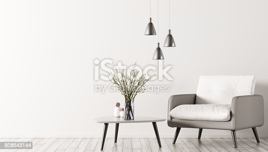 istock Interior with armchair and coffee table 3d rendering 928543144