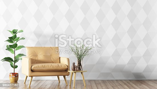 istock Interior with armchair and coffee table 3d rendering 930427182