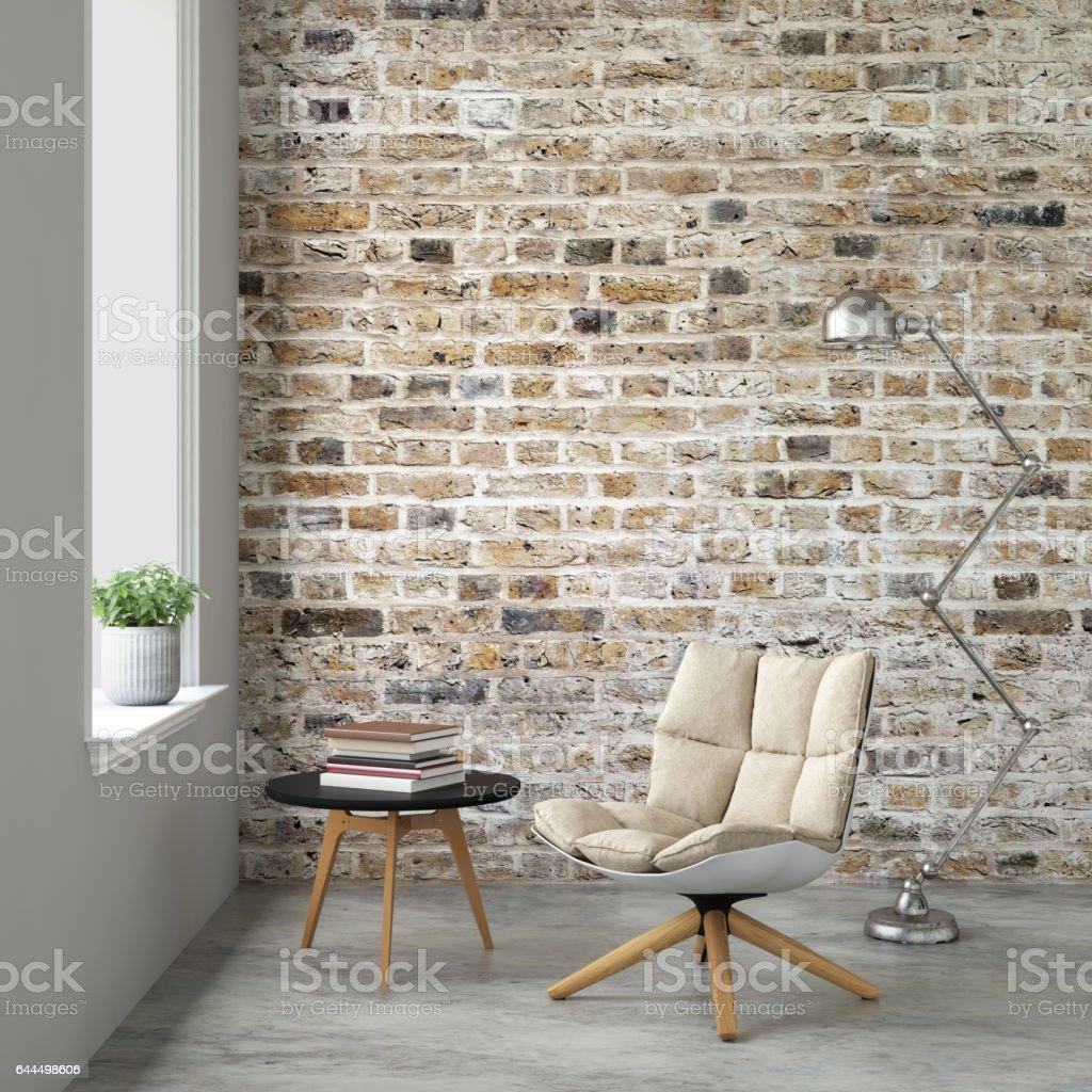 Interieur Mit Sessel Und Leere Wand Stock-Fotografie und mehr Bilder ...