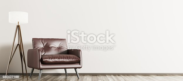 Interior of living room with wooden floor lamp and brown armchair, panorama 3d rendering