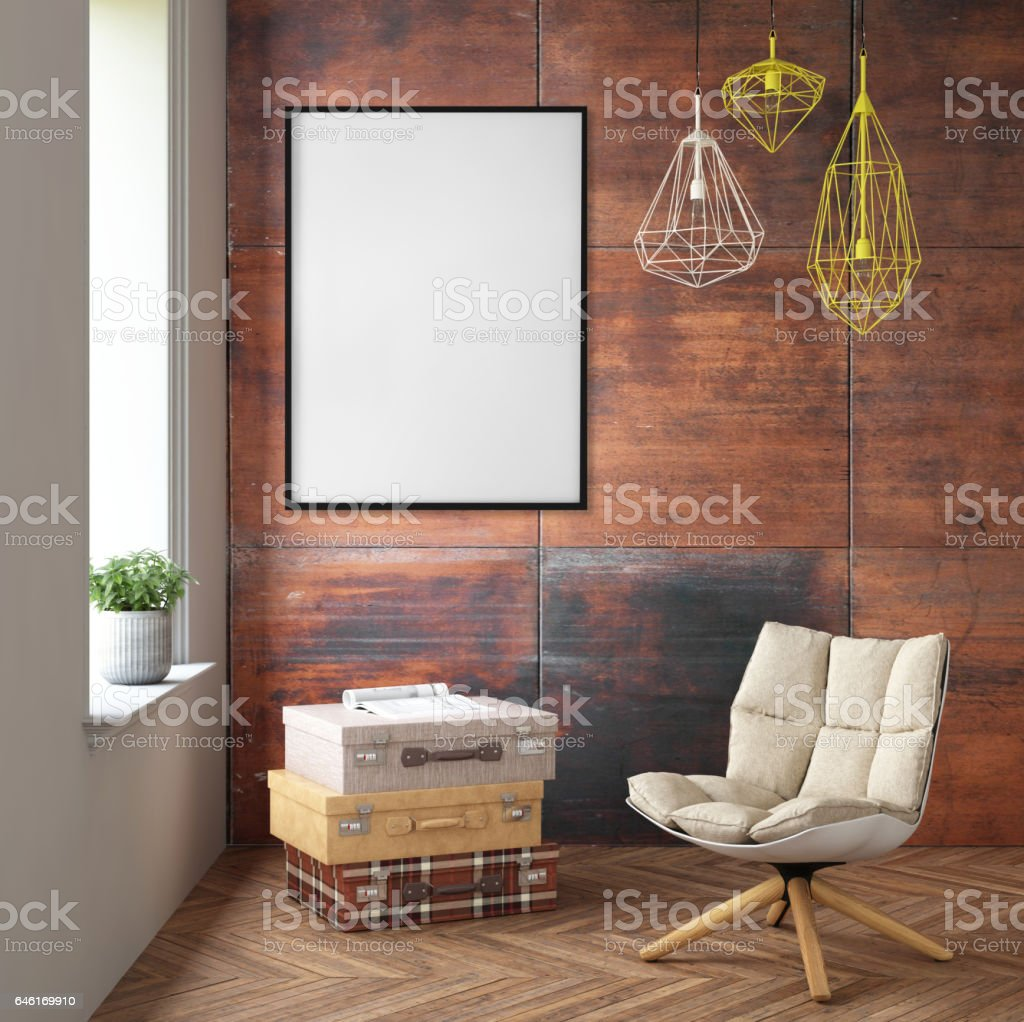 Interior with armchair and picture frame on the wall stock photo