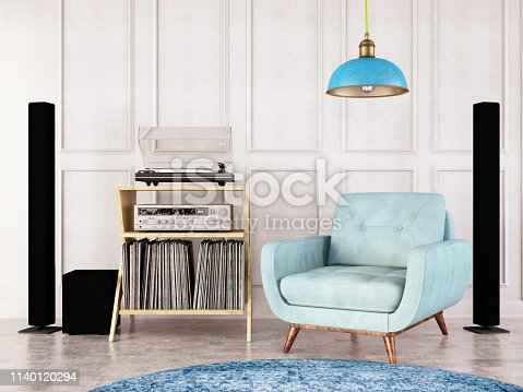 Interior with armchair, records and turntable