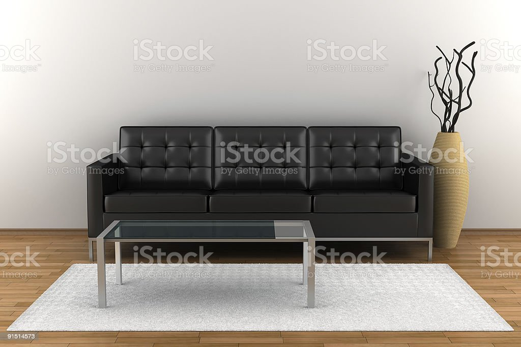 interior with black leather sofa and glass table stock photo