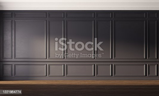 847138534 istock photo Interior with black walls and old wooden floor. 1221954774