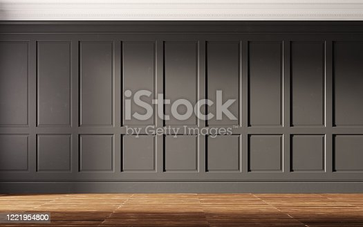 847138534 istock photo Interior with black walls and old wooden floor. 1221954800