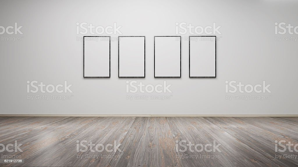 Interior with blank picture frames 3d rendering圖像檔