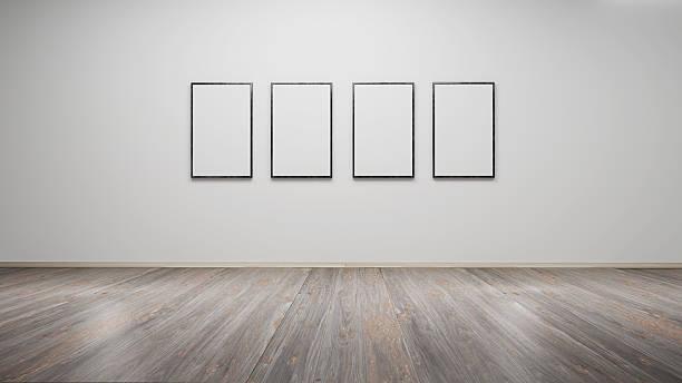 interior with blank picture frames 3d rendering - gemäldegalerie stock-fotos und bilder