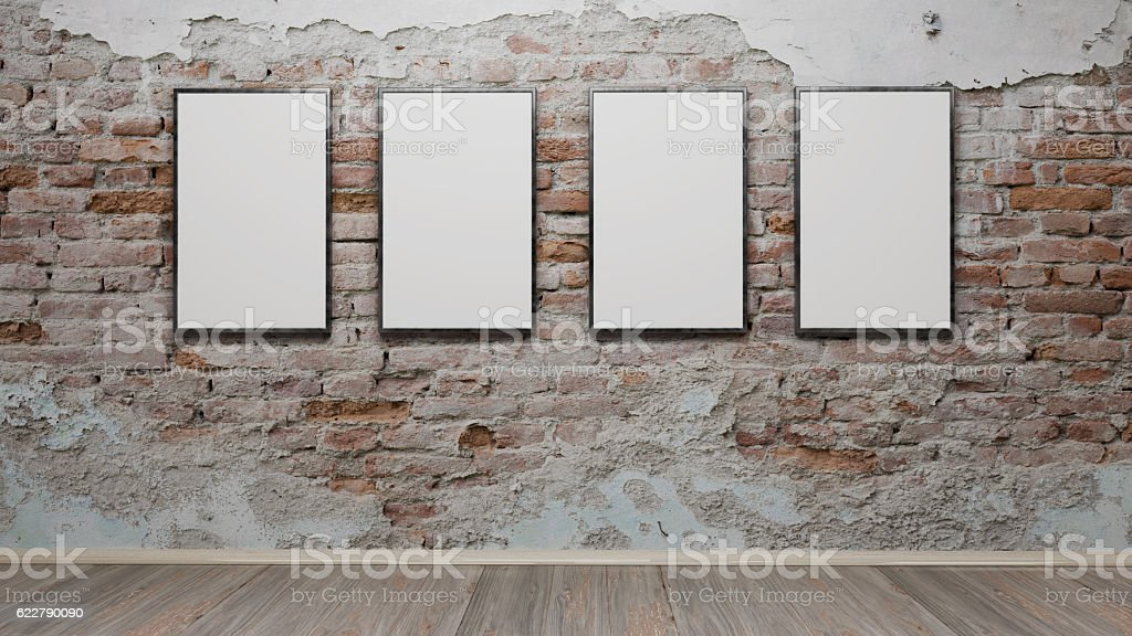 Interior with blank picture frames 3d rendering stock photo