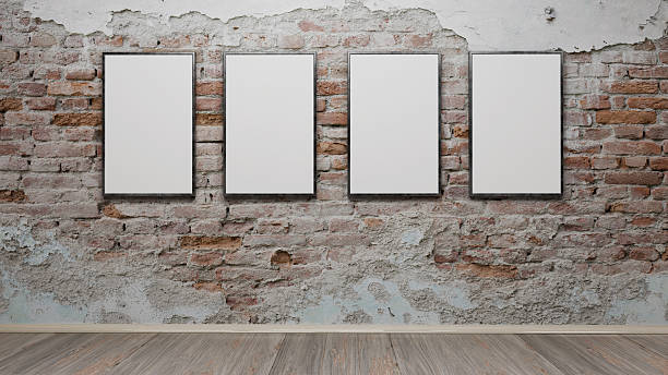 Interior with blank picture frames 3d rendering