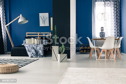 508860888 istock photo Interior with bold blue walls 840802624