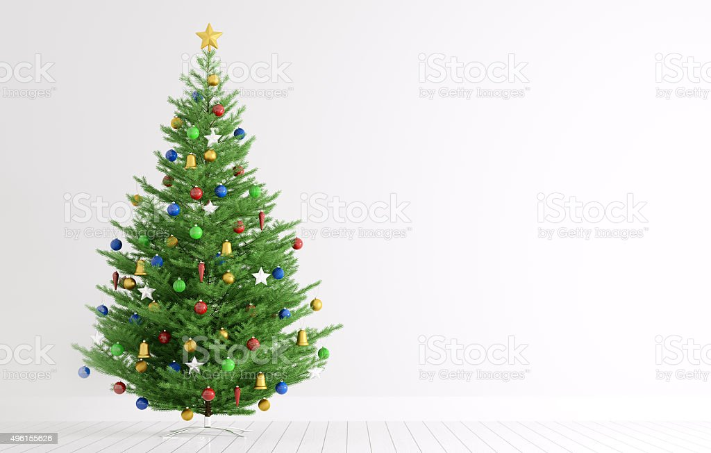 Interior with christmas tree 3d rendering stock photo