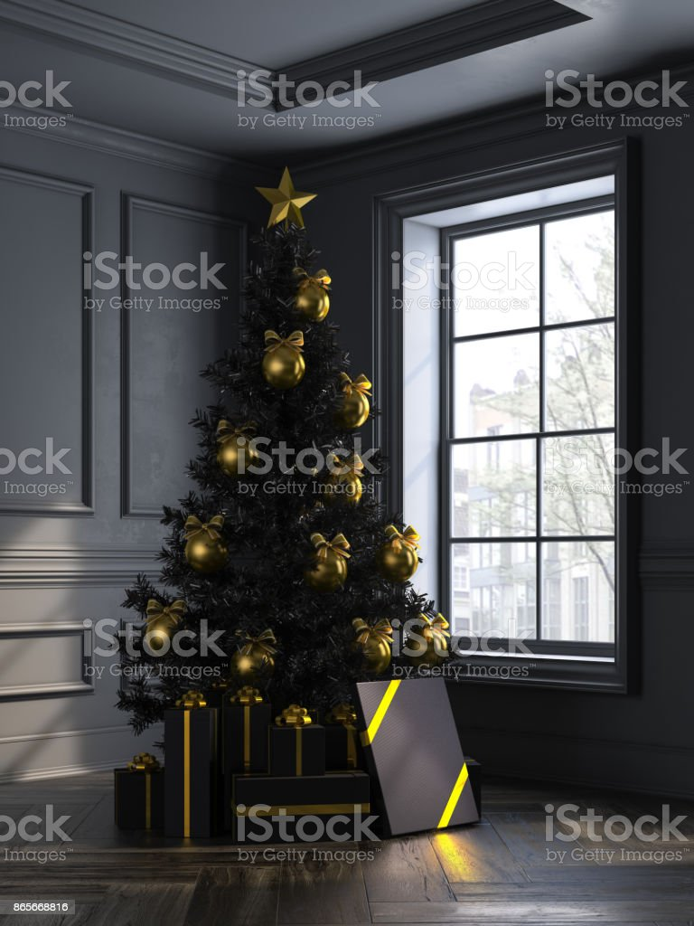 interior with christmas tree and gift boxes 3d illustration stock photo
