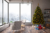 Interior with Christmas Tree and Gifts